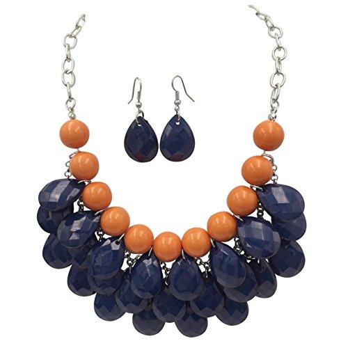 (Gypsy Jewels Waterfall Cascading Chunky Bib Bubble Statement Necklace & Earrings Set (Orange & Navy Blue))