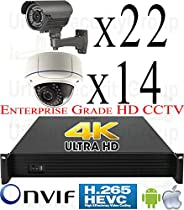 USG 8MP Ultra 4K 36 Camera Security System PoE IP CCTV Kit: 36x 5MP IP PoE 2.8-12mm Dome & Bullet Cameras + 1x 36 Channel H.265 8MP NVR + 2x 4TB HDD View Remotely On Phone