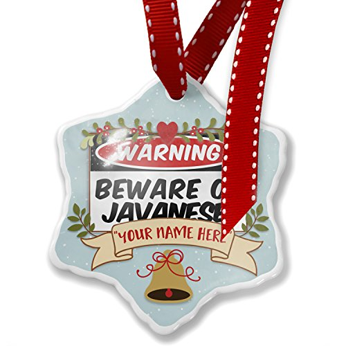 Add Your Own Custom Name, Beware of the Javanese Cat from Indonesia Christmas Ornament NEONBLOND by NEONBLOND