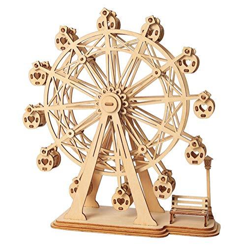 [해외]Salinr DIY 3 차원 손수 퍼즐 천연 나무 행복 관람차 완료하실 3D 나무 퍼즐 장난감 어린이 어셈블리 키트 독성 DIY 과정 선물 아이 키즈 모델 빌딩 장비 인기 / Salinr DIY 3D Handmade Jigsaw Puzzle Natural Trees Happy Ferris Wheel Ochi 3D Wo...