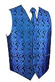 Image of Brand Q Men's Royal Blue Paisley Design Vest NeckTie Pocket Square Set For Suit or Tuxedo 2XL