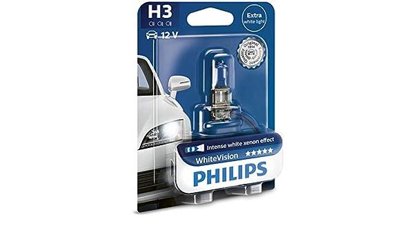 Amazon.com: PHILIPS H3 12V 55W PK22s WhiteVision Xenon Effect 12336WHVB1 SINGLE: Automotive