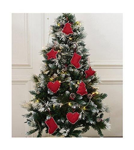Christmas Tree Ornaments Stocking Decorations - 8pcs Christmas Stocking Tree Heart Star Holiday Party Decor (Felt Ornaments)