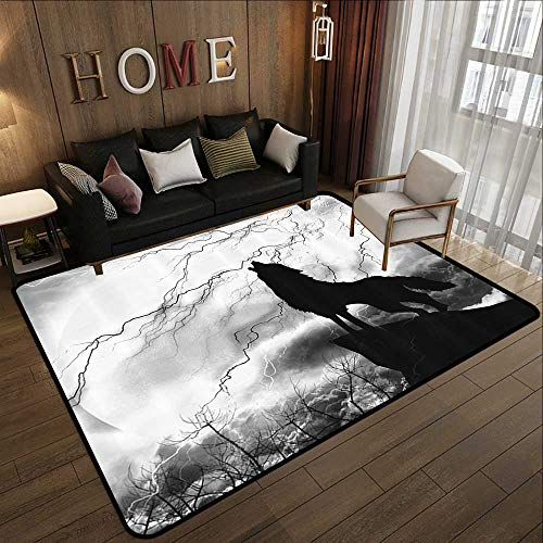 Small Rugs,Black Wolf Silhouette,Howling Thunderstorm Full Moon Light Mystic Night Gray White and Black Monochrome Scary Scene Art, 35