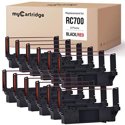 myCartridge 12-Packs Compatible Ink Ribbon Replacement for Star RC700 SP700 SP712 SP712R SP717 SP742R SP747 SP740 (Black/Red)