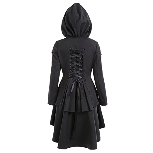 Steampunk Jacket | Steampunk Coat, Overcoat, Cape CharMma Womens Casual Single Breasted High Low Hem Lace Up Layered Hooded Coat $35.99 AT vintagedancer.com