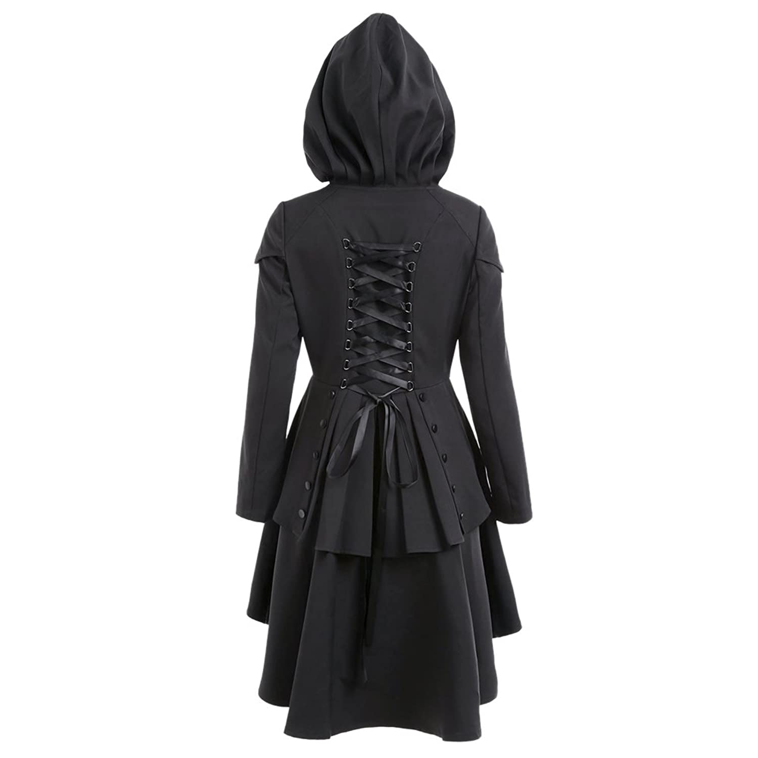 CharMma Women's Casual Single Breasted High Low Hem Lace Up Layered Hooded Coat