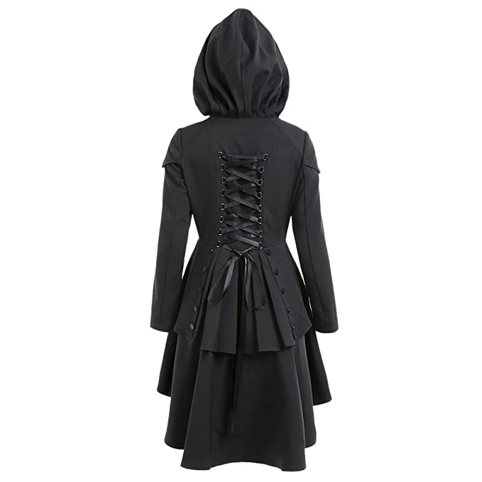 CharMma Women s Casual Single Breasted High Low Hem Lace Up Layered Hooded  Coat (S 4fea0f13e