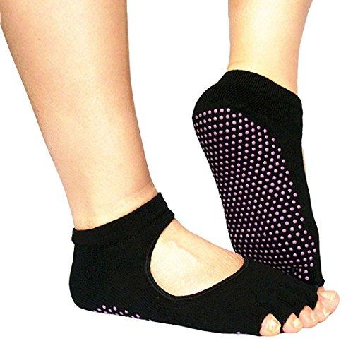 Yoga Socks AutumnFall(TM) Female Sports Cotton Sport Socks Backless Home Yoga Toe Fiver Finger Socks (Black)