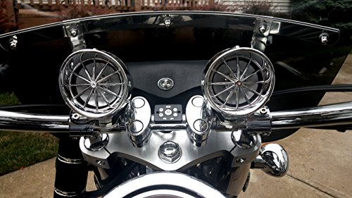 "Boost Bluetooth Motorcycle Stereo Speaker System. 3"" Speaker, Built in Amp, Simple Install on all Bikes and ATV (Chrome)"
