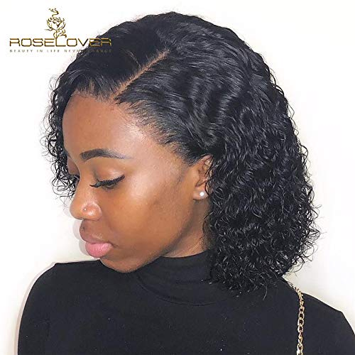 ROSELOVER Lace Front Human Hair Wigs for Black Women Pre Plucked Brazilian Short Bob Wigs Curly Unprocessed Glueless Wig with Elastic Band & Natural Hairline for Daily Use 12