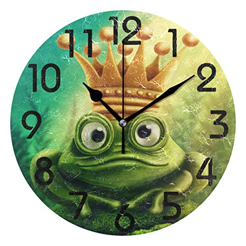 (Naanle Lovely Cartoon Frog Prince with Gold Crown Print Round Wall Clock, 9.5 Inch Battery Operated Quartz Analog Quiet Desk Clock for Home,Office,School(Green))