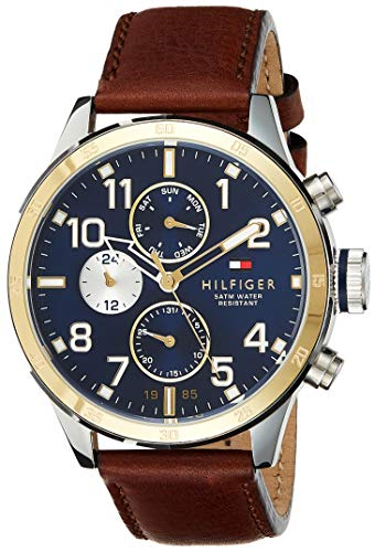 Tommy Hilfiger Men 1791137 Cool Sport TwoTone Stainless Steel Watch with Leather Band