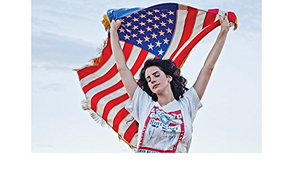 Amazon Com Tomorrow Sunny Hot Singer Lana Del Rey American Flag Background Poster Art Wall Pictures For Living Room Canvas Fabric Cloth Print Posters Prints