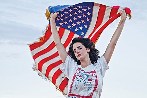 Tomorrow sunny Hot singer Lana Del Rey American flag backgro