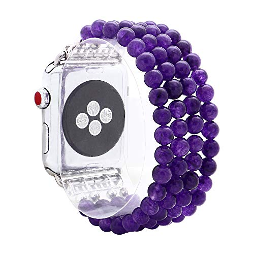 - KAI Top Compatible Apple Watch Band Series 3/2/1 38mm 42mm, Unique Handmade Beaded Elastic Stretch Natural Amethyst Gemstone Fashion Bracelet Strap Women Girls (Amethyst, 42mm)
