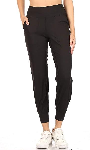 Leggings Depot Womens Printed Solid Activewear Jogger Track Cuff Sweatpants