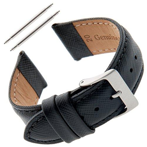 Gilden Gents 20mm Saffiano Leather Black Watch Strap SAFSTY (20 millimeter end width, Black) Gents Black Leather Watch