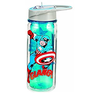 Vandor 26810 Marvel Captain America 18 oz Tritan Water Bottle, Blue, Red, and White