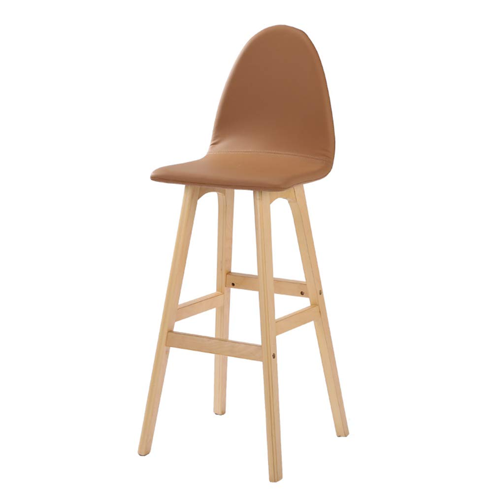 Light Brown 42x41x114cm LIQICAI Bar Stool Faux Leather Wooden High Legs Saddle Stool with Natural Finished Frame, 65 74cm Seat Height, 6 colors Optional (color   Green, Size   42x41x114cm)