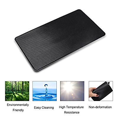 EFORCAR Anti-slip Mat,Car Dashboard Non-slip Pad,Silicone Gel Car Anti-slip Mat For Cellphone Ornaments Fixed Center Console Grid Holds Cell Phones,Sunglasses,Coins,Keys etc - Black: Automotive