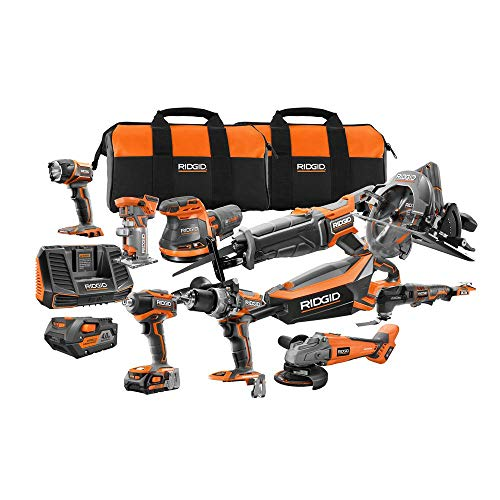 (Ridgid R9698N 18-Volt Cordless 10-Piece Combo Kit with (1) 4.0 Ah Battery and (1) 2.0 Ah Battery, Charger, and Bag)