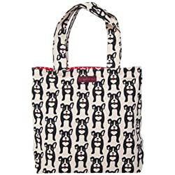 Bungalow360 Vegan Cotton Reversible Tote Bag-Boston Terrier-Black Dog Pattern