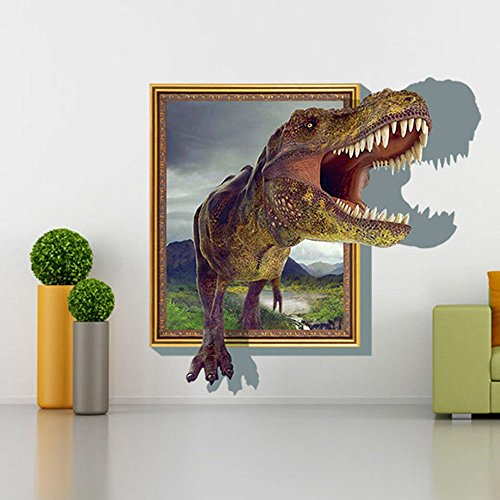 - 3D Dinosaur wall stickers Removable decals cartoon animal Photo Frame style waterproof vinyl PVC murals kids bedroom wall deco nursery decorations size of 22