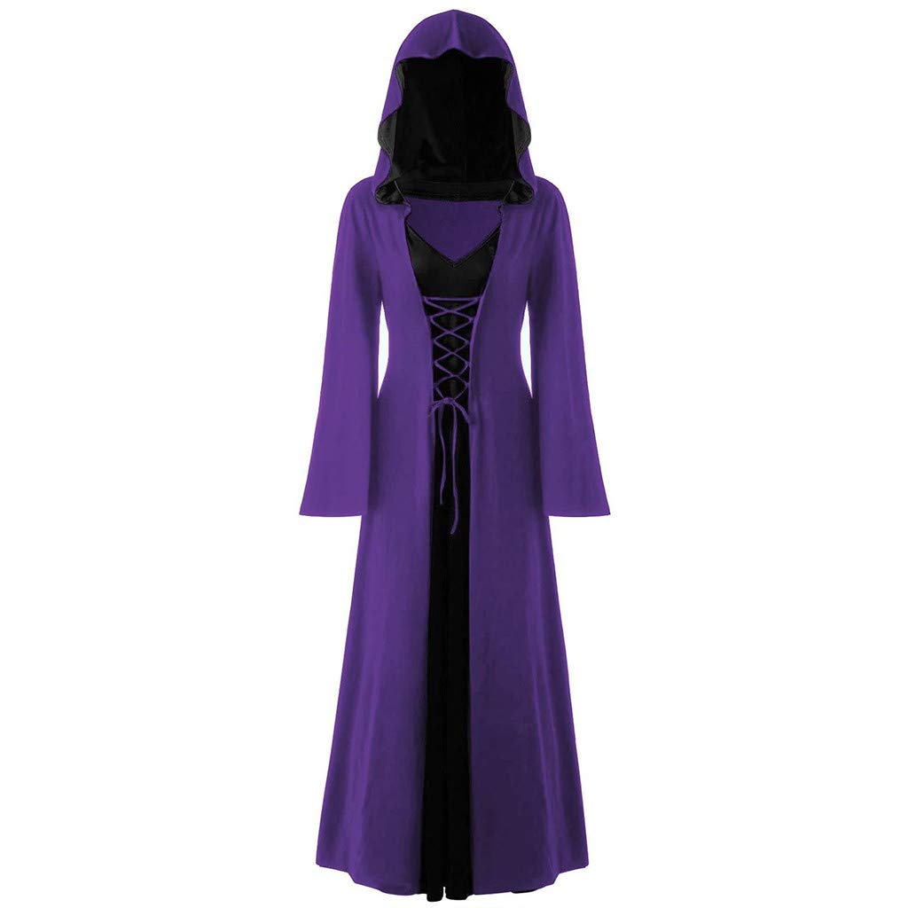 Medieval Costumes Hooded Robe for Womens Vintage Gothic Lace Up Pullover Hoodie Dress Cloak (XXL, Purple) by sweetnice Women Dresses
