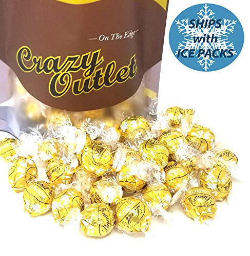 Gold Truffle - CrazyOutlet Pack - Lindt Lindor White Chocolate Truffle Candy, Gold Foil, Wedding Day Candy, Bulk Pack, 2 Lbs
