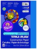 Pacon Tru-Ray Construction Paper, 9-Inches by 12-Inches, 50-Count, Blue (103022)