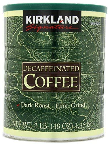 Kirkland Signature 100% Colombian Dark Roast Decaffeinated Ground Coffee, 3 Pound (Pack of 2) ()