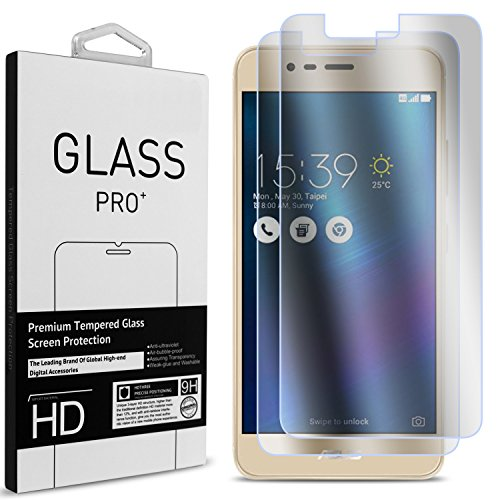 Zenfone 3 Max Tempered Glass Screen Protector, Zenfone Pegasus 3 Screen Protector, CoverON Premium Grade 9H Clear Slim Screen Protectors with Bubble-Free Installation Kit [Case Friendly] Clear