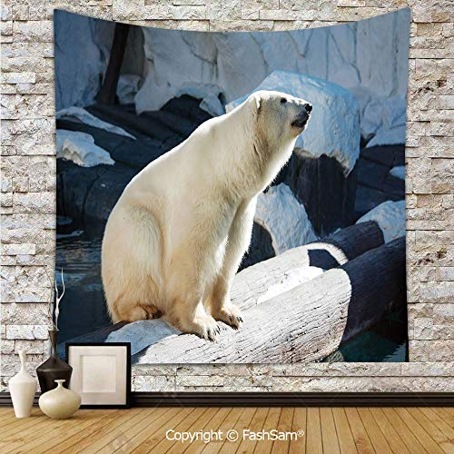 FashSam Tapestry Wall Hanging Polar Bear Wildlife Park Rocks Water Cold Climate Tourist Attraction Image Decorative Tapestries Dorm Living Room Bedroom(W59xL90) -