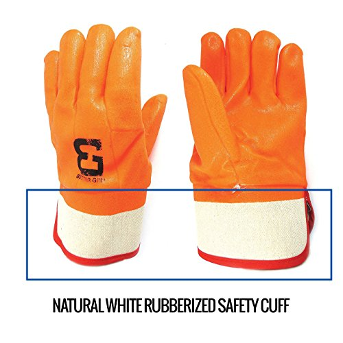 Better Grip BG105ORG Heavy Duty Premium Sandy finished PVC Coated-Supported Glove with Safety Cuff, Chemical Resistant, Large, Fluorescent Orange, Sanitation Gloves (12 Pair) by Better Grip (Image #4)