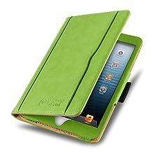 iPad Mini 4, 3, 2, and 1st Generation Case, JAMMYLIZARD The Original Green & Tan Leather Smart Cover