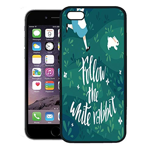 Semtomn Phone Case for iPhone 8 Plus case Cover,Story Follow The White Rabbit Girl Runs After Hand Lettering Phrase for Easter and Character,Rubber Border Protective Case,Black