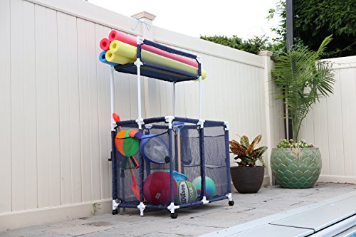 Essentially Yours Pool Organizer Storage Bin - Holds Pool Floats, Toys, Balls and Equipment, Large Noodle Holder, (Pool Float Storage)