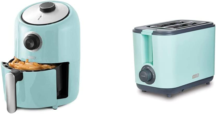 Dash Compact Air Fryer Oven Cooker, 2 Quart - Aqua & DEZT001AQ 2 Slice Extra Wide Slot Easy Toaster with Cool Touch + Defrost Feature, for Bagels, Specialty Breads & other Baked Goods, Aqua
