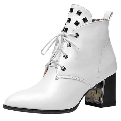 Kaizi Karzi Mujer Tacon Ancho Botines Cordones: Amazon.es: Zapatos y complementos