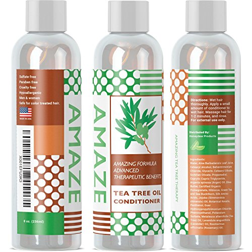 Sage Shampoo and Tea Tree Oil Conditioner Set for All Natural Anti-Dandruff Hair Care with Pure Essential Oils for Healthy Scalp and Hair Growth Gentle Repair Formula Helps Relieve Itching and Flaking