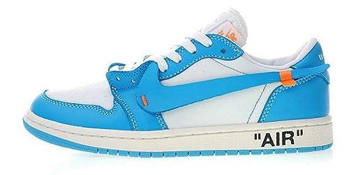 Off White X Nike Air Jordan 1 Low UNC Aq0818-148 Blue Zapatillas De Deporte para Hombre Mujer: Amazon.es: Zapatos y complementos