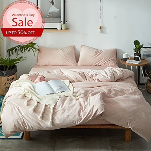 Luxury Duvet Cover Set Queen Size Solid Pink Luxury Thickened Velvet Duvet Cover with 2 Pillow Shams - Hotel Quality Flannel Winter Warmth Luxurious Bedding Sets by LifeTB