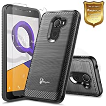T-Mobile REVVL Case with [Tempered Glass Screen Protector], Alcatel A30 Fierce Case(MetroPCS) / Alcatel A30 Plus Case / Alcatel Walters, NageBee [Carbon Fiber Brushed] Defender [Dual Layer] -Black