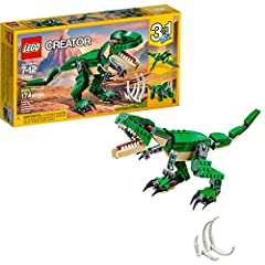 Kids will engage in endless hours of creative play with this 3-in-1 LEGO Creator Mighty Dinosaurs set. The build and play set creates a T Rex with dark-green and beige color scheme, bright orange eyes, posable joints and head, large claws and...