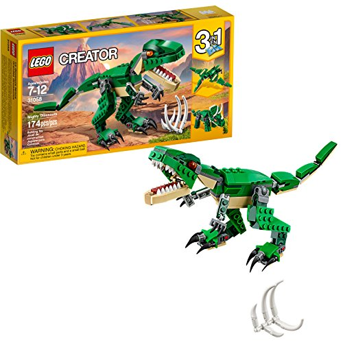LEGO Creator Mighty Dinosaurs 31058 Build It Yourself Dinosaur Set, Create a Pterodactyl, Triceratops and T Rex Toy  (174 Pieces) (Best Dad In The World Card)