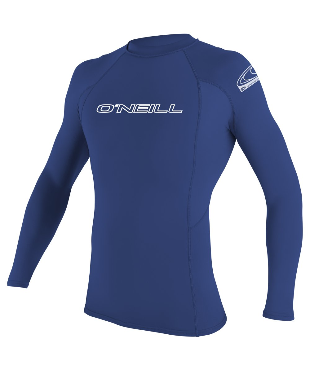 O'Neill Men's Basic Skins UPF 50+ Long Sleeve Rash Guard, Pacific, Small
