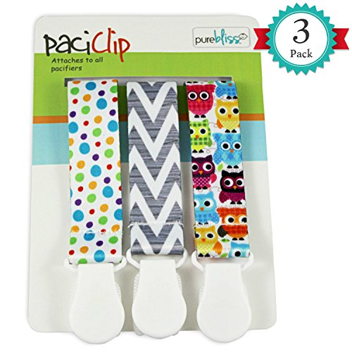 Pacifier Clips for Baby   Set of 3   Universal Design Fits All Pacifier Styles for girls and boys from Pure Bliss