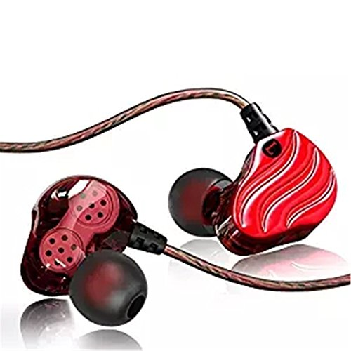 Dual Coil (In Ear Athletic Headphone, OWIKAR Quad-core Double Dynamic-coil Music Headset Built-in MIC Stereo Noise Reduction Earphones HIFI Deep Bass Headsets Sweatproof Earbuds for All Music Player (Red))