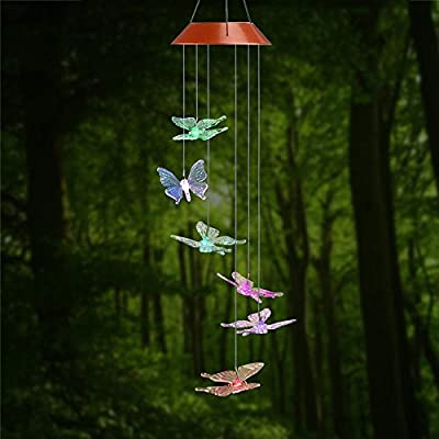Amazing Wind Chime,Color Changing Solar Mobile Wind Chimes Lights Hanging Wind Bell Light Night Hanging lamp for Patio Garden Lighting Home Decoration with Spinning Hook